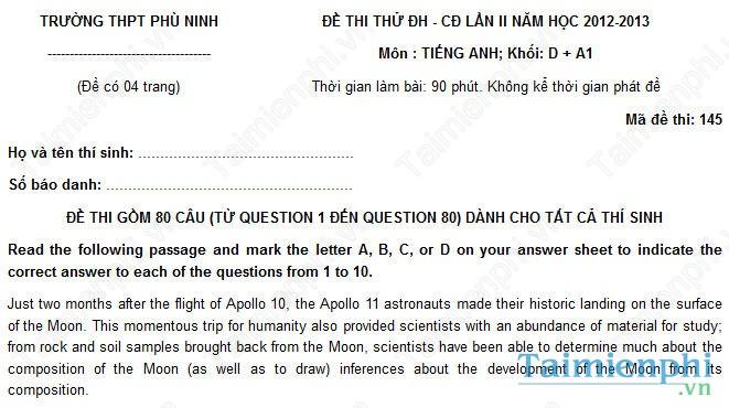 Đề thi thử THPT Quốc Gia môn Tiếng Anh trường Phù Ninh