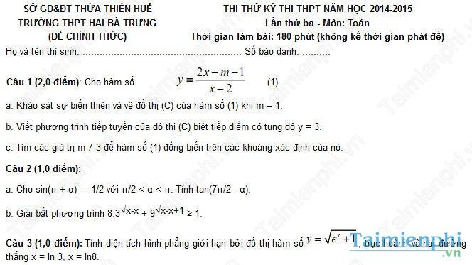 Đề thi thử THPT Quốc gia môn Toán trường Hai Bà Trưng, Thừa Thiên Huế
