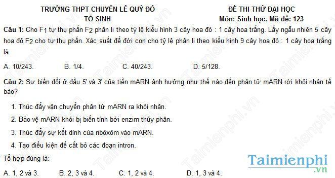 Đề thi thử THPT Quốc gia môn Sinh trường chuyên Lê Quý Đôn