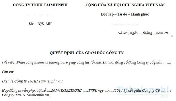 download mau quyet dinh phan cong nhiem vu