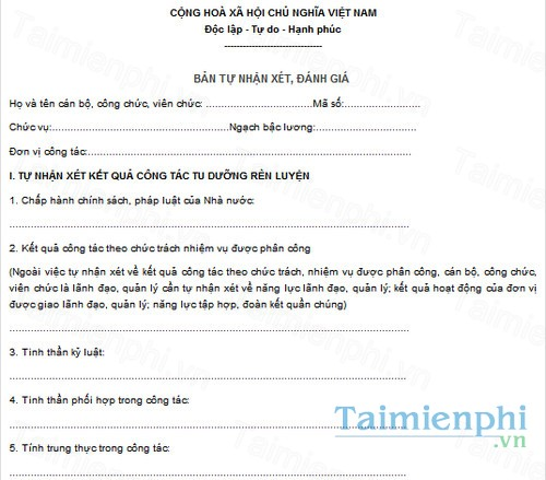 download ban tu nhan xet danh gia can bo vien chuc