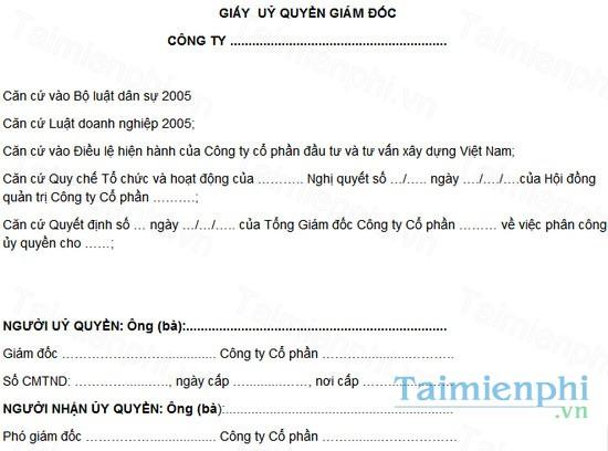 download giay uy quyen cua giam doc cong ty tnhh