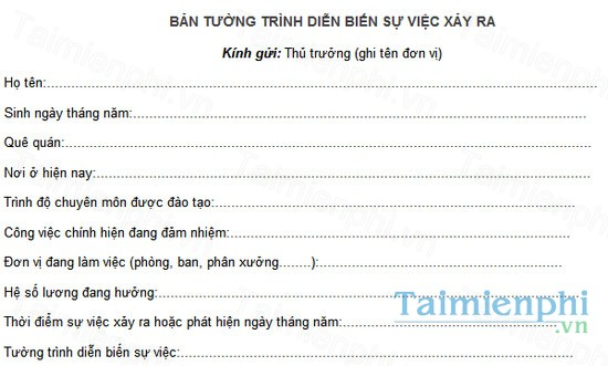 download mau ban tuong trinh su viec