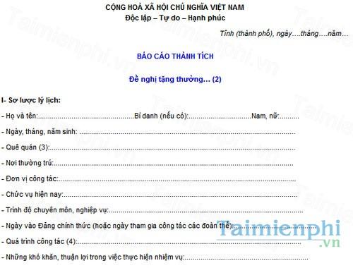 download mau bao cao thanh tich ca nhan de nghi tang thuong