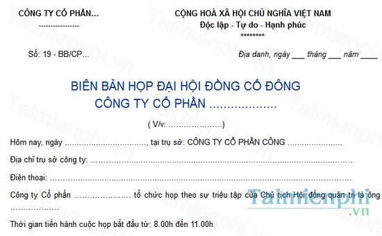 download mau bien ban hop dai hoi dong co dong cong ty co phan