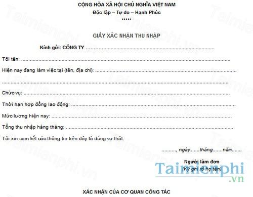 download mau giay xac nhan thu nhap