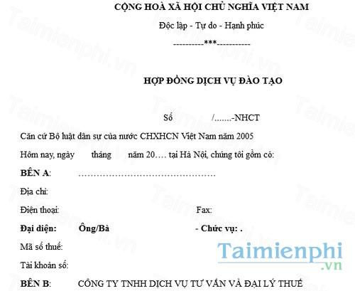 download mau hop dong dich vu dao tao