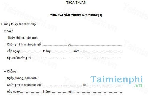 download bien ban thoa thuan chia tai san chung vo chong