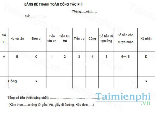 download mau bang ke thanh toan cong tac phi