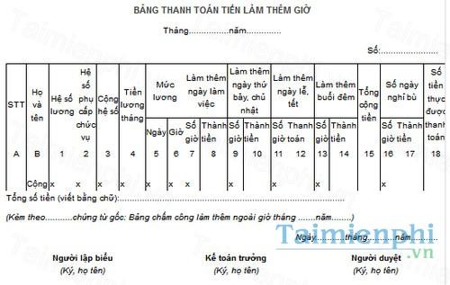 download mau bang thanh toan tien lam them gio