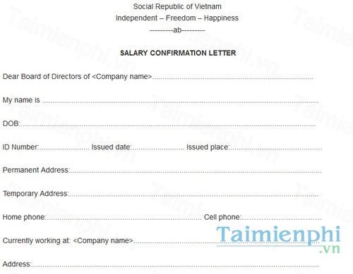 Mẫu đơn xin xác nhận lương bằng tiếng Anh - giấy xác nhận ...