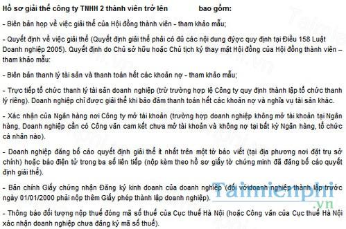 download mau ho so giai the cong ty tnhh hai thanh vien