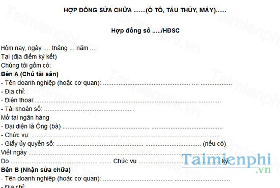 download mau hop dong sua chua o to tau thuy may
