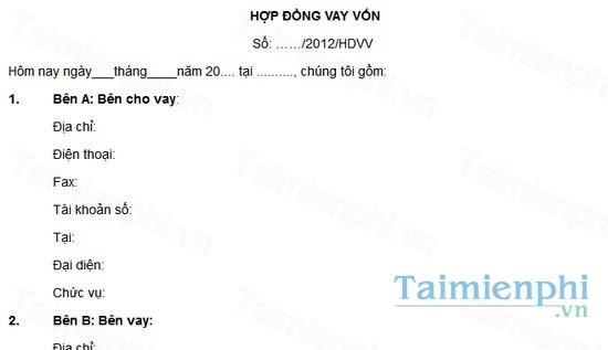 download mau hop dong vay von