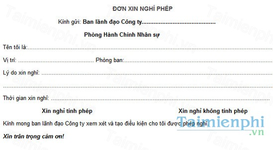 download don xin nghi phep cong ty
