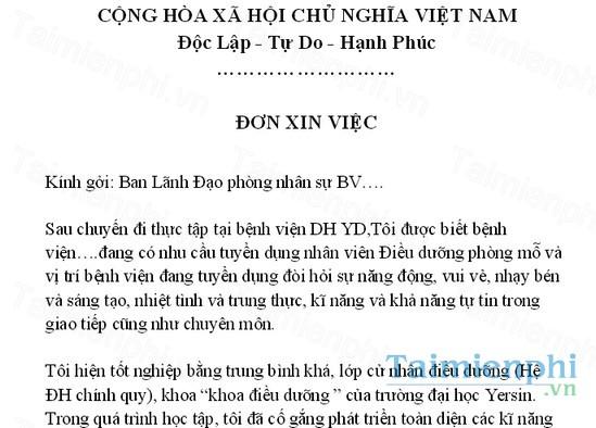 download don xin viec nganh y