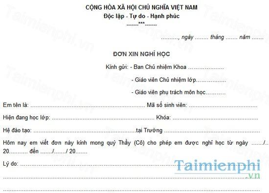 download don xin nghi hoc dai hoc