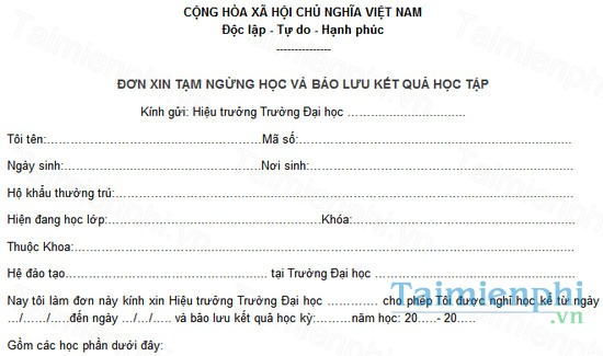 download don xin nghi hoc tam thoi
