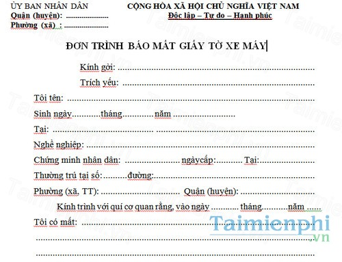 download don trinh bao mat giay to xe may