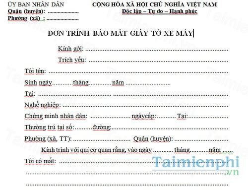 download don trinh bao mat giay to xe may