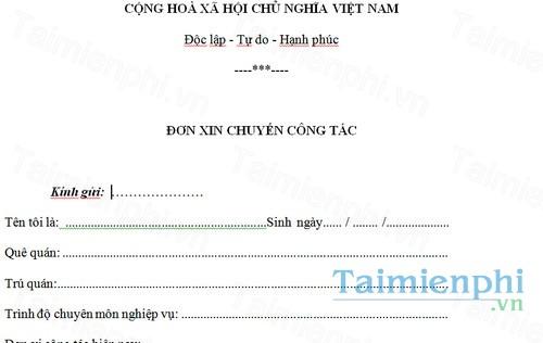 download don xin chuyen cong tac benh vien