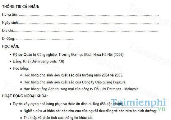 download mau cv xin viec ban hang