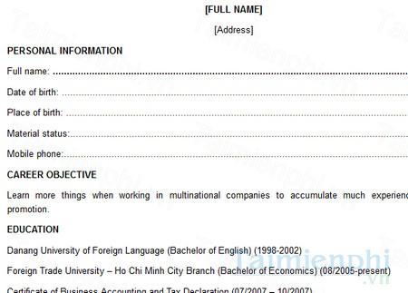 CV tiếng Anh