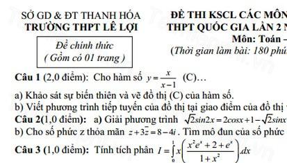 Đề thi thử THPT Quốc gia môn Toán THPT Lê Lợi năm 2016
