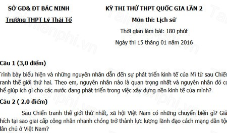 Đề thi thử THPTQG môn Lịch sử THPT Lý Thái Tổ lần 2 năm 2016