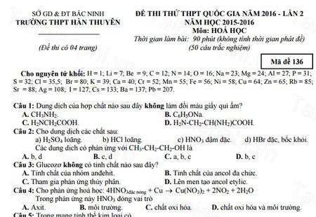 Đề thi thử THPTQG môn Hóa Học THPT Hàn Thuyên lần 2 năm 2016