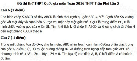 Đề thi thử THPT Quốc gia môn Toán THPT Trần Phú năm 2016