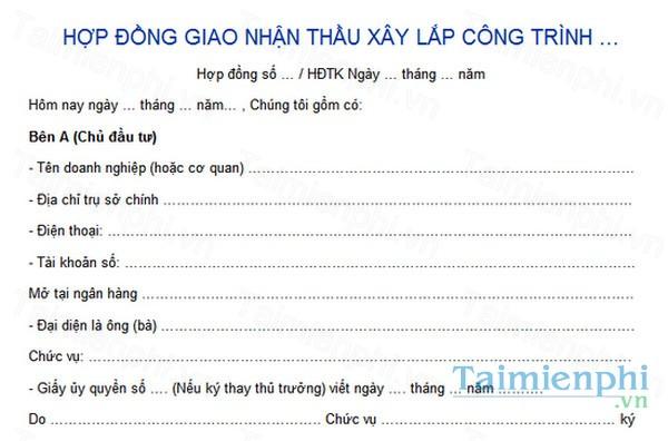 download hop dong giao nhan thau xay lap cong trinh