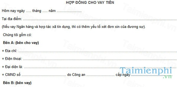 download hop dong vay tien