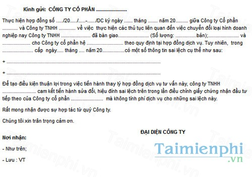 download mau cong van cam ket