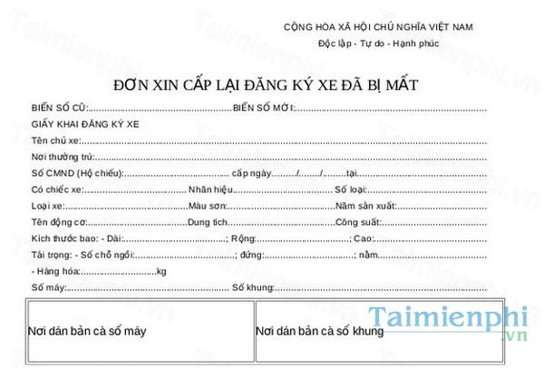download mau don xin cap lai dang ky xe da bi mat