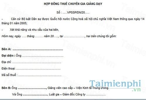 download mau hop dong thue chuyen gia giang day
