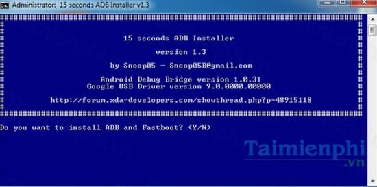download 15 seconds adb installer cho windows