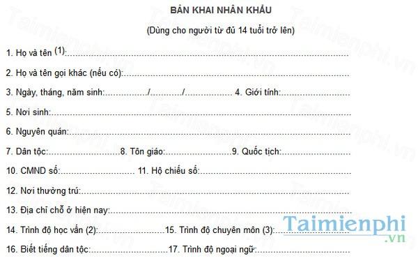 download ban khai nhan khau ho khau