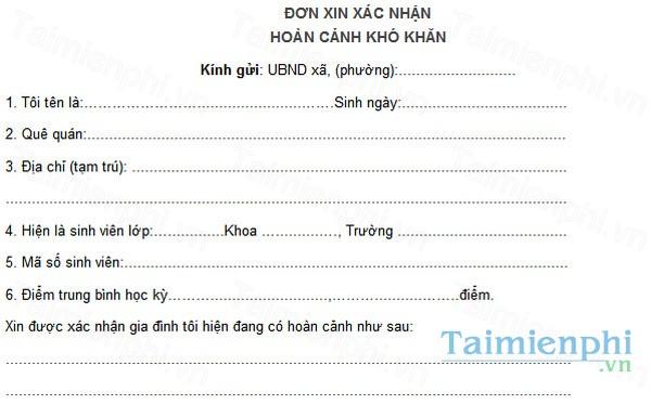 download cach viet don xac nhan hoan canh kho khan