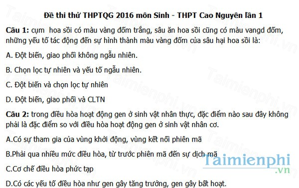 download de thi thu thpt quoc gia mon sinh thpt cao nguyen nam 2016