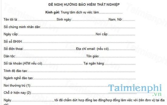 download mau don de nghi huong bao hiem that nghiep