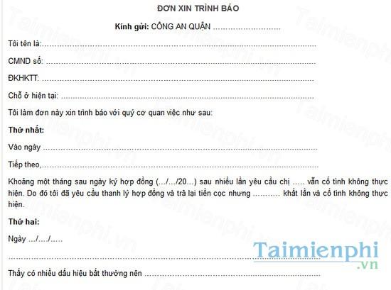 download mau don trinh bao cong an