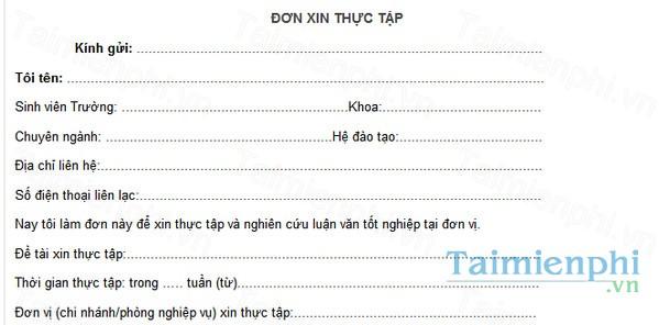 download mau don xin thuc tap