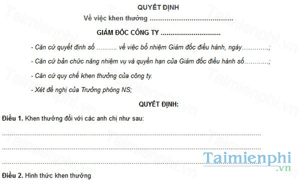 download mau quyet dinh khen thuong