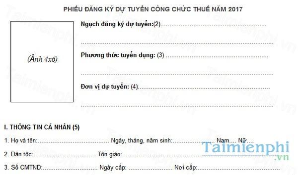 download phieu dang ky du tuyen cong chuc thue