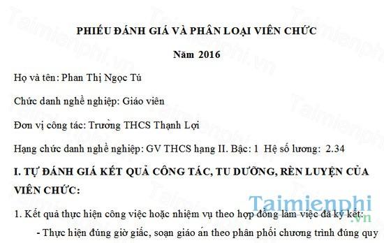 download phieu danh gia phan loai vien chuc