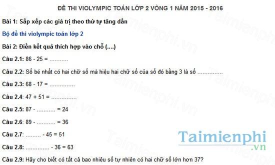 download de thi violympic toan lop 2