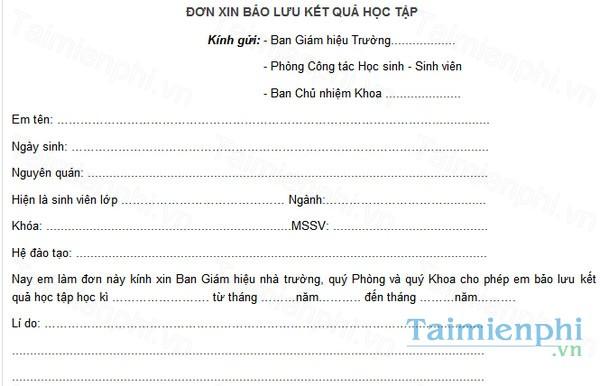 download don bao luu ket qua hoc