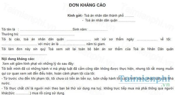 download mau don khang cao vu an hinh su