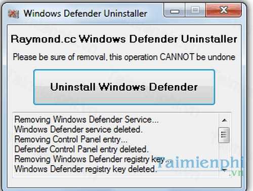 download windows defender uninstaller